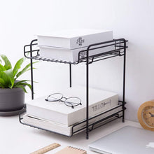 Amazon aiyoo 2 tier black metal bathroom standing storage organizer countertop kitchen condiment shelf rack for spice cans jars bottle shelf holder rack