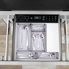 Selection expandable kitchen drawer organizer 5 separate compartment with anti slip mats mesh kitchen cutlery trays silverware storage kitchen utensil flatware tray