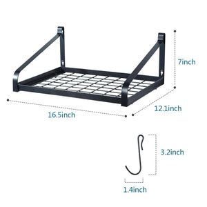 "Love-KANKEI Pot Rack Wall Mounted 16.5"" x 12"" - Pan Pot Organizer with 16 Hooks for Cookware Utensils Organization Set of 2"