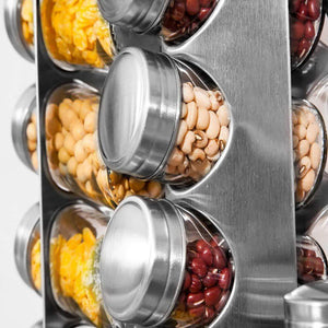 Purchase spice rack revolving stainless steel seasoning storage organizer spice carousel tower for kitchen set of 16 jars