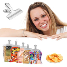 New chip bag clips set of 8 leyosov 3 inches wide stainless steel heavy duty chip clips all purpose grip clips for kitchen office come in a nice reusable storage box