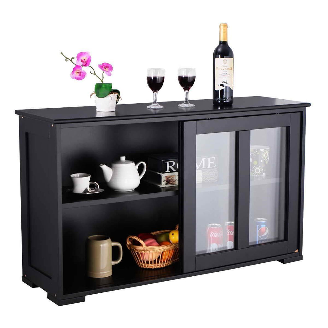 Top rated waterjoy kitchen storage sideboard stackable buffet storage cabinet with sliding door tempered glass panels for home kitchen antique black