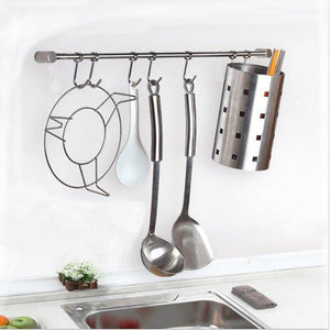 Selection pan pot hanger hooks rack ulifestar wall mout stainless steel kitchen utensil organizer storage lid holder rest 15rail rod with 7 hanging hooks 1