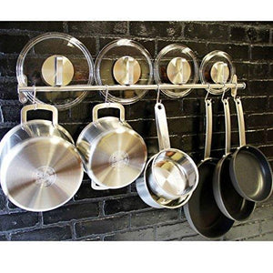 Discover the best tevizz gourmet kitchen wall mount rail and hooks stainless steel pot pan lid holder rack