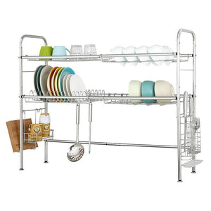 NEX 2-Tier Stainless Steel Drying Dish Rack, Non-slip Length Adjustable Kitchen Cabinets with Chopstick Holder, Double Groove