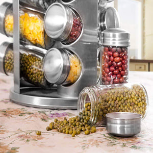 Related spice rack revolving stainless steel seasoning storage organizer spice carousel tower for kitchen set of 16 jars