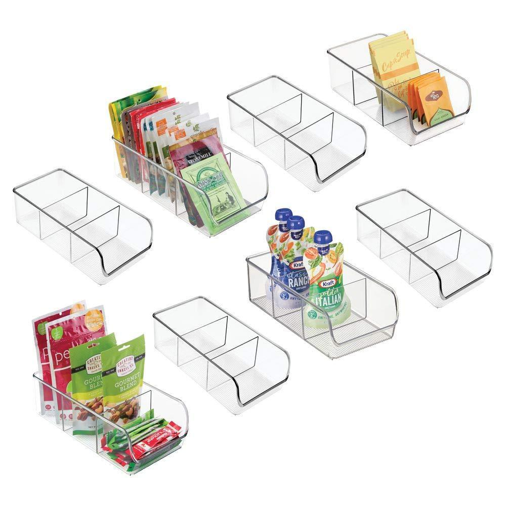 Shop mdesign plastic food packet kitchen storage organizer bin caddy holds spice pouches dressing mixes hot chocolate tea sugar packets in pantry cabinets or countertop 8 pack clear