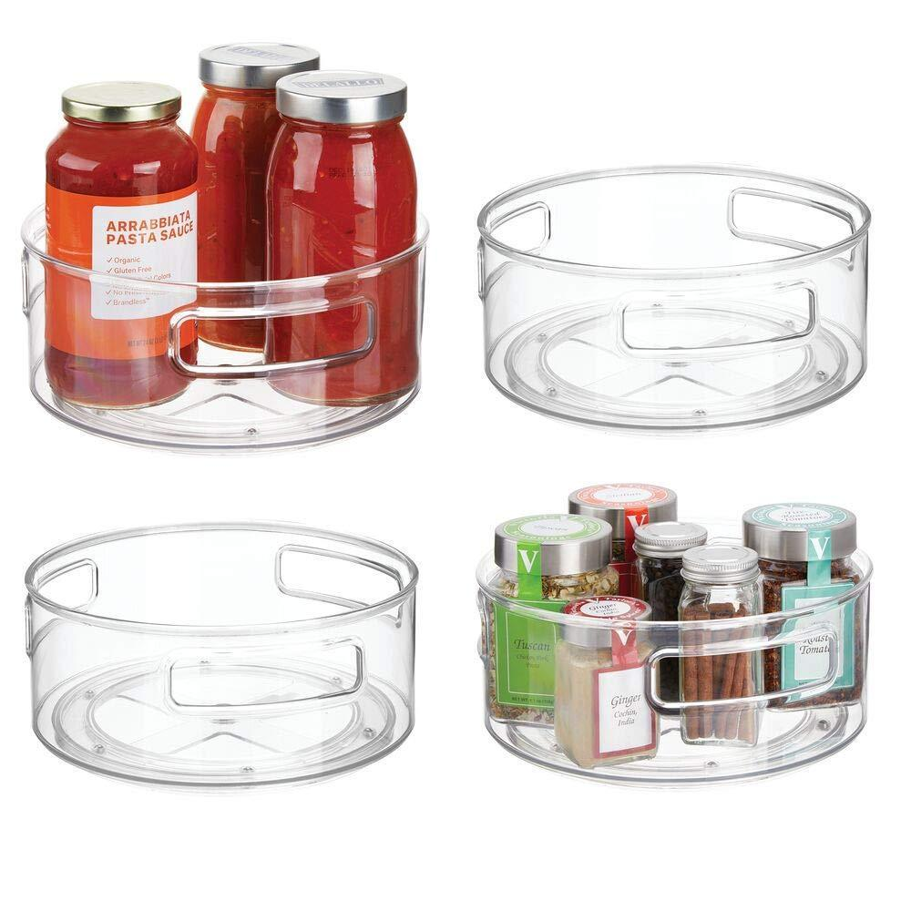 Storage organizer mdesign deep plastic lazy susan turntable food storage bin with handles rotating organizer for kitchen pantry cabinet cupboard refrigerator or freezer 9 round 4 pack clear