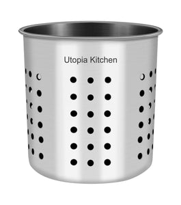 Buy utopia kitchen utensil holder utensil container 5 x 5 3 utensil crock flatware caddy brushed stainless steel cookware cutlery utensil holder