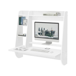 On amazon wlive wall mounted desk with storage shelves computer table for home office stable and durable floating kitchen dining desk white