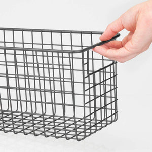 Products mdesign farmhouse decor metal wire food storage organizer bin basket with handles for kitchen cabinets pantry bathroom laundry room closets garage 12 x 6 x 6 4 pack graphite gray