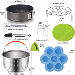 Large Steamer Basket Set Compatible 6,8 Quart (Qt) Instant Pot Accessories Pressure Cooker, Egg Rack, Springform Pan, Egg Bites Mold, Oven Mitts,Cheat Sheet Magnet, Tong,Bowl Clip, Recipes EBook,14PCS