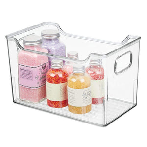 Kitchen mdesign plastic kitchen pantry cabinet refrigerator or freezer food storage bin with handles organizer for fruit yogurt snacks pasta bpa free 10 long 8 pack clear