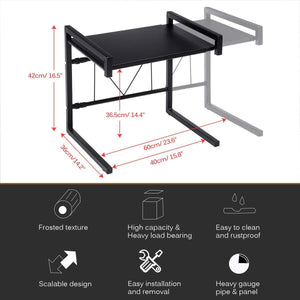 Storage gemitto microwave oven rack expandable carbon steel microwave shelf kitchen counter shelf 2 tiers with 3 hooks 55lbs weight capacity 40 60x36x42cm 15 8 23 6x14 2x16 5 black