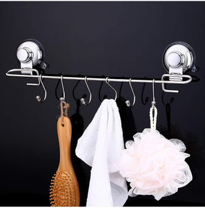 Great yamazihd strong stainless steel towel shower rack hook vacuum suction cup wall mounted rack bar rail hanger with 6 sliding hooks for kitchen and bathroom tools