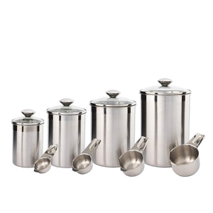 Try beautiful canisters sets for the kitchen counter 8 piece stainless steel medium sized with glass lids and measuring cups silveronyx tea coffee sugar flour canisters 8pc glass lids