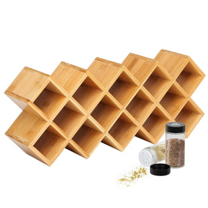 Storage organizer criss cross 18 jar bamboo countertop spice rack organizer kitchen cabinet cupboard wall mount door spice storage fit for round and square spice bottles free standing for counter cabinet or drawers