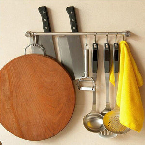 Organize with pan pot hanger hooks rack ulifestar wall mout stainless steel kitchen utensil organizer storage lid holder rest 15rail rod with 7 hanging hooks
