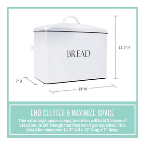 Organize with outshine vintage metal bread bin countertop space saving extra large high capacity bread storage box for your kitchen holds 2 loaves 13 x 10 x 7 white with bread lettering
