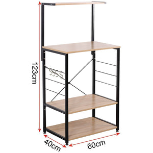 Latest woltu 4 tiers shelf kitchen storage display rack wooden and metal standing shelving unit for home bathroom use with 4 hooks