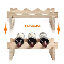 On amazon defway wood wine rack countertop stackable storage wine holder 12 bottle display free standing natural wooden shelf for bar kitchen 4 tier natural wood