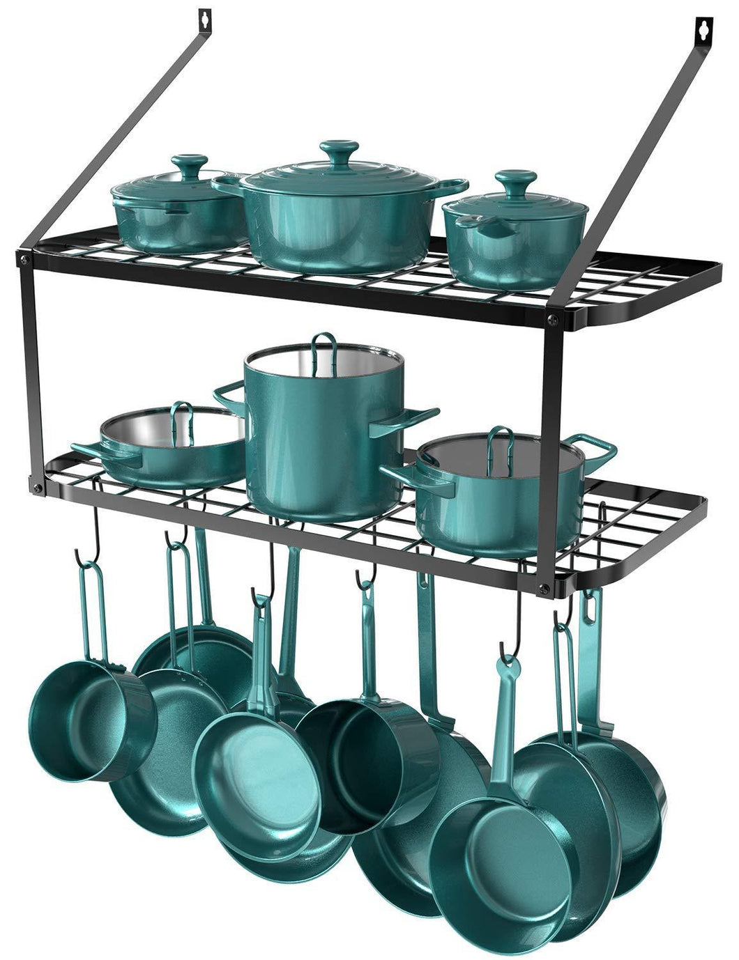 New geekdigg 29 5 inch wall mounted pot rack storage shelf with 2 tier 10 hooks included kitchen pot racks hanging storage organizer black