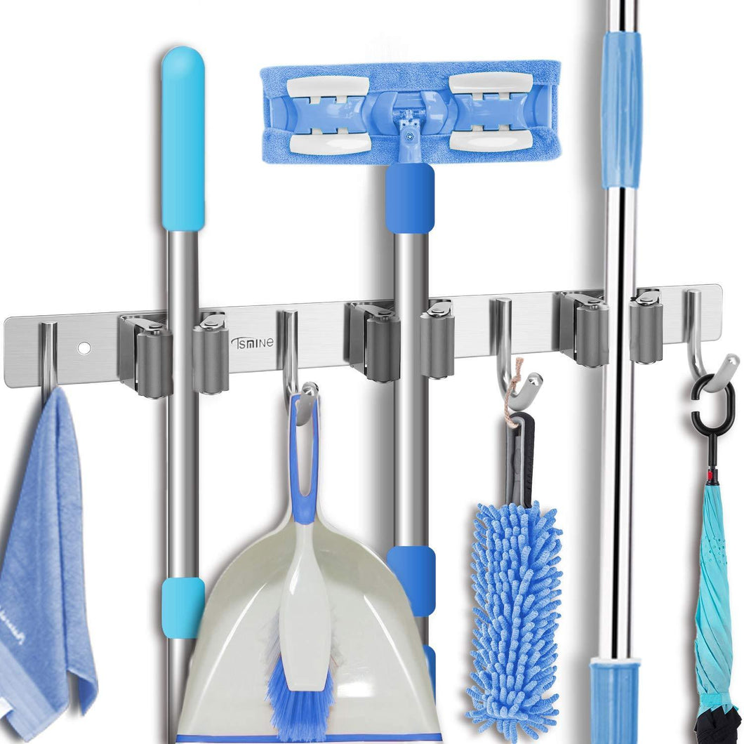 Budget friendly tsmine broom holder organizers and storage stainless steel mop holder wall mounted garden tool heavy duty rack hooks for garage home kitchen bathroom closet and shed 3 racks 4 hooks