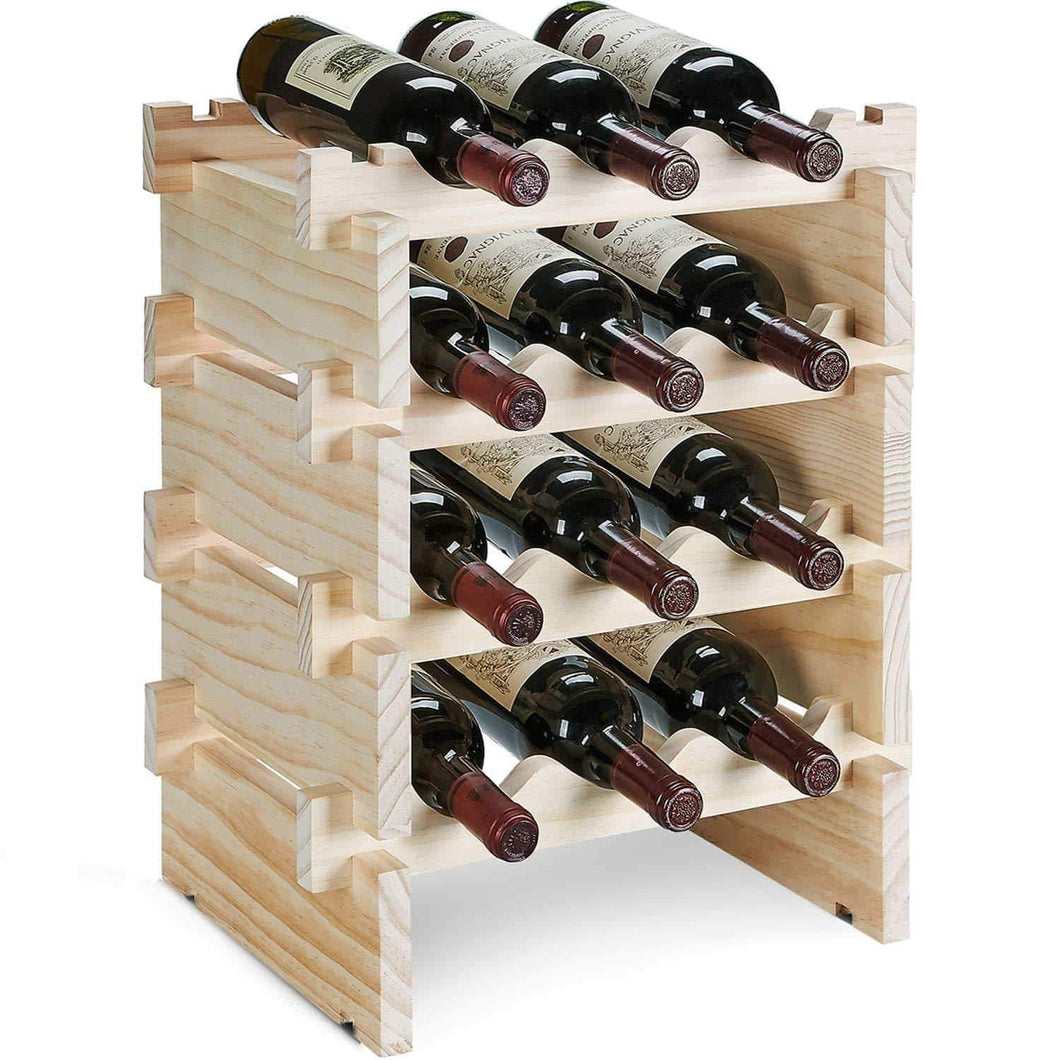 Kitchen defway wood wine rack countertop stackable storage wine holder 12 bottle display free standing natural wooden shelf for bar kitchen 4 tier natural wood