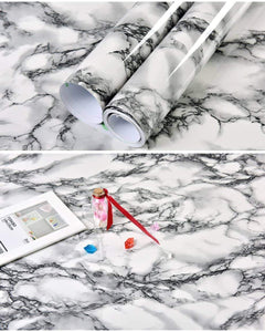 Best seller  self adhesive black white marble gloss vinyl contact paper for kitchen countertop cabinets backsplash wall crafts projects 24 by 117 inches