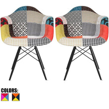 Order now 2xhome set of 2 multi color modern upholstered molded armchair fabric chair patchwork multi pattern dark black wood wooden leg eiffel dining room industrial desk accent living bedroom kitchen