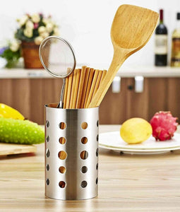 New topoko thick stainless steel circular hole tableware cage chopsticks tube storage brush holder kitchen caddy utensil holder 4x6 inch