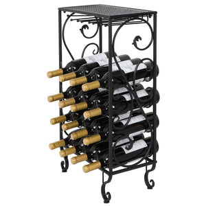 Budget smartxchoices 16 bottle wine rack table top with glass hanger wine bottle holder solid metal floor free standing wine organizer shelf side table for cabinet kitchen