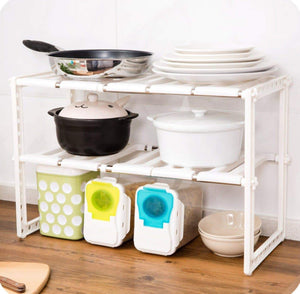 Buy now lhfj adjustable extendable under sink rack shelf 2 tier kitchen bathroom storage organiser50 702638cm organizer