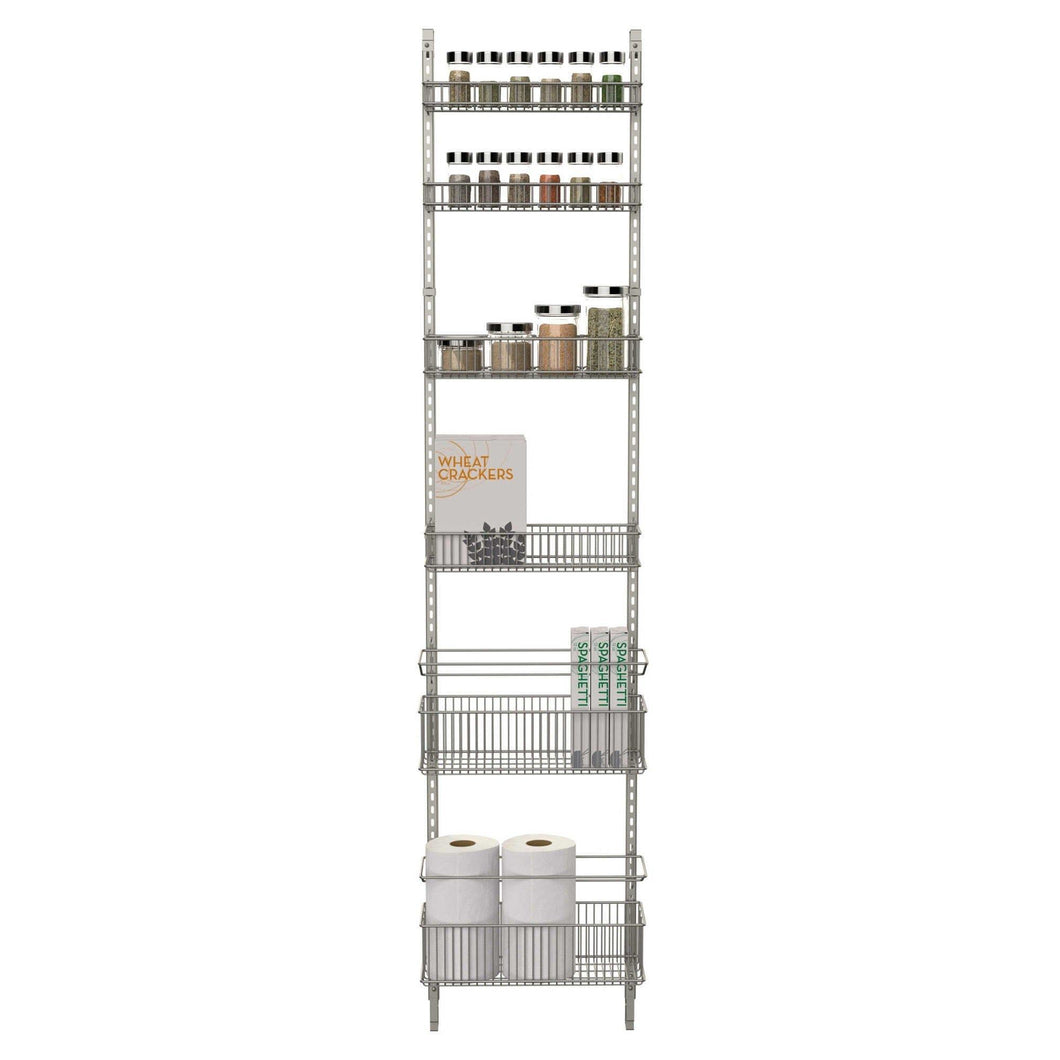 Discover the premium over the door steel frame kitchen pantry and bath room organizer in satin nickel adjustable shelf system made of solid steel hung or door mounted option