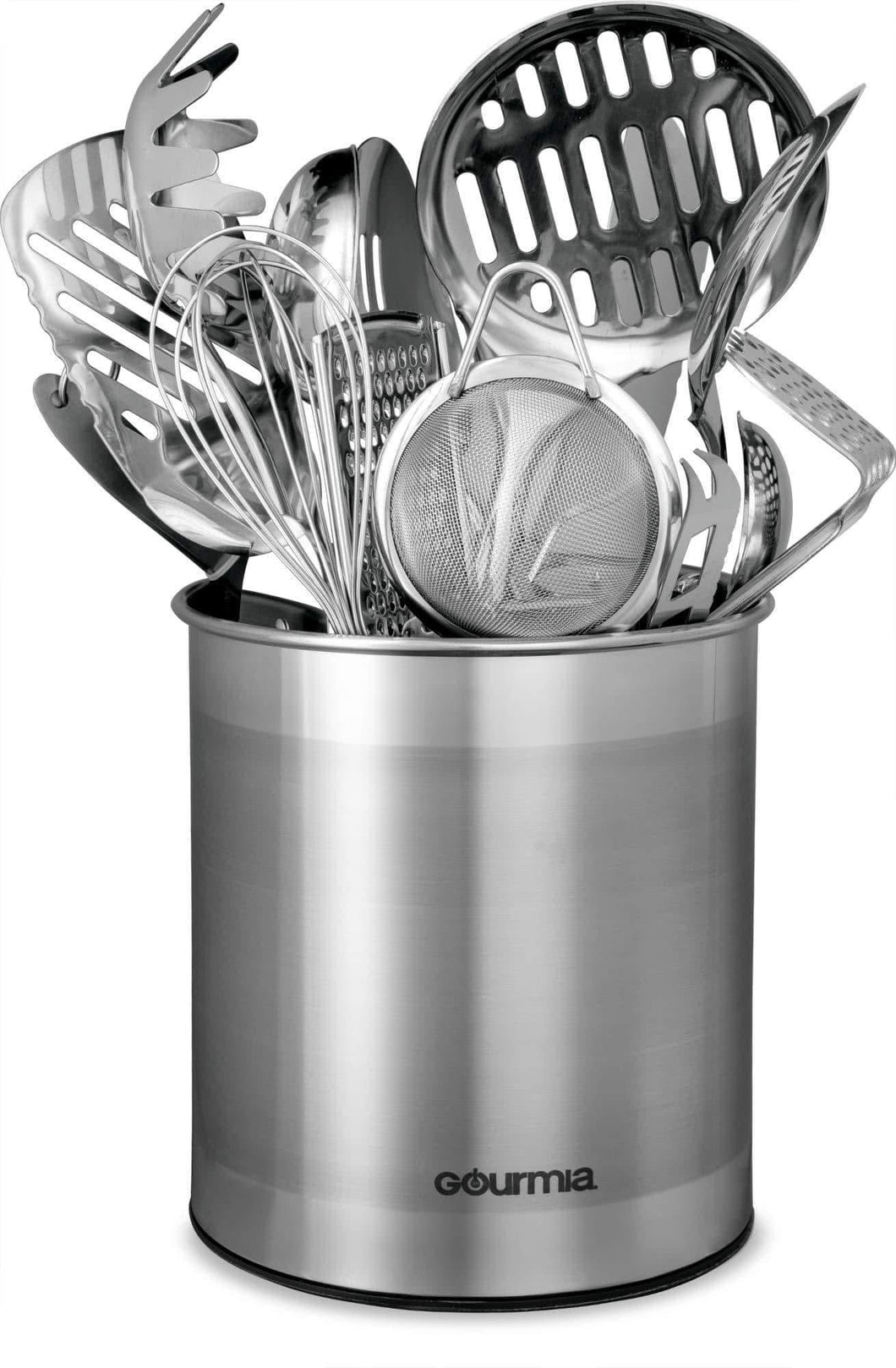 Try gourmia gch9345 rotating kitchen utensil holder spinning stainless steel organizer to store cooking and serving tools dishwasher safe non slip bottom use as caddy