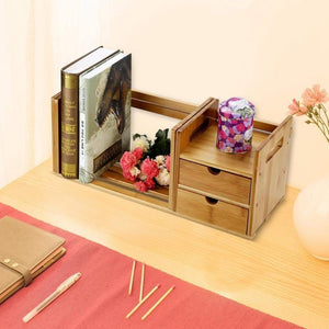 New cocoarm bamboo wood desk organizer expendable tabletop bookshelf office storage adjustable table accessory book shelf media rack with 2 drawers cd holder display for home dorm kitchen plants