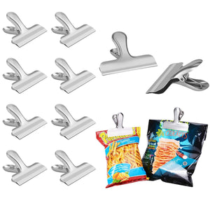 Home chip bag clips set of 8 leyosov 3 inches wide stainless steel heavy duty chip clips all purpose grip clips for kitchen office come in a nice reusable storage box