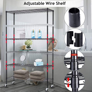 Featured 6 tier storage shelves metal wire shelving unit height adjustable nsf heavy duty garage shelving with wheels 48x18x82 commercial grade utility shelf rack for restaurant basement garage kitchen