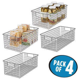 Great mdesign farmhouse decor metal wire food organizer storage bin basket with handles for kitchen cabinets pantry bathroom laundry room closets garage 16 x 9 x 6 in 4 pack graphite gray