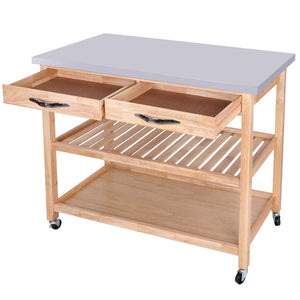 Kitchen zenstyle 3 tier rolling kitchen island utility wood serving cart stainless steel countertop kitchen storage cart w shelves drawers towel rack