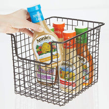 Heavy duty mdesign household metal kitchen pantry food storage organizer basket bin farmhouse grid design or cabinets cupboards shelves holds potatoes onions fruit 8 wide 8 pack bronze