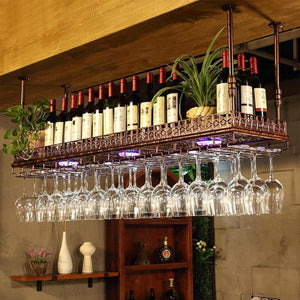 Budget friendly warm van industrial vintage metal bar wine glass hanging rack retro upside down stemware goblet wine glass holder tableware bottle floating shelf for home kitchen bronze 47 2l