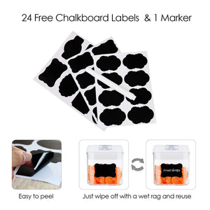 Shop airtight food storage containers vtopmart 7 pieces bpa free plastic cereal containers with easy lock lids for kitchen pantry organization and storage include 24 free chalkboard labels and 1 marker