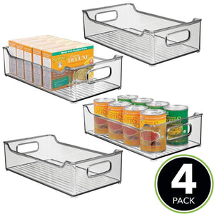 Top rated mdesign wide stackable plastic kitchen pantry cabinet refrigerator or freezer food storage bin with handles organizer for fruit yogurt snacks pasta bpa free 14 5 long 4 pack smoke gray