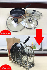 Online shopping adjustable lid holder wisfruit expandable lid rack kitchen cookware drain rack pan pot lid plate organizer racks total 8 adjustable compartments stores 7 lids 7 dividers