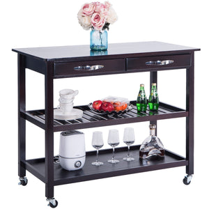 Order now lz leisure zone rolling kitchen island serving cart wood trolley w countertop 2 drawers 2 shelves and lockable wheels dark brown