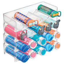 Online shopping mdesign plastic free standing water bottle and wine rack storage organizer for kitchen countertops table top pantry fridge stackable holds 5 bottles each 4 pack clear