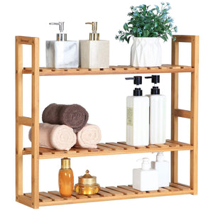 Cheap songmics bamboo bathroom shelves 3 tier adjustable layer rack bathroom towel shelf utility storage shelf rack wall mounted organizer shelf for bathroom kitchen living room holder natural ubcb13y