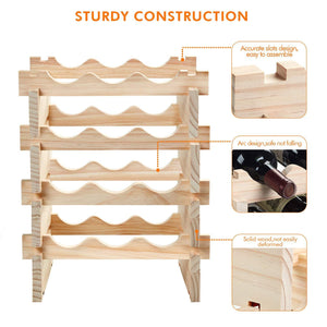 Online shopping defway wood wine rack countertop stackable storage wine holder 12 bottle display free standing natural wooden shelf for bar kitchen 4 tier natural wood
