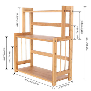 Budget homecho bamboo spice rack bottle jars holder countertop storage organizer free standing with 3 tier adjustable slim shelf for kitchen bathroom bedroom hmc ba 004